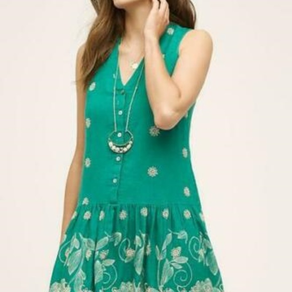 Anthropologie Dresses & Skirts - Maeve Pippa Swing Eyelet Embroidered Dress XS